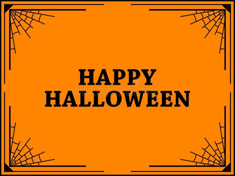 Halloween rama z pajęczynami kolor tła wakacje czerwonego żółty pomarańcze i czerń kolor wektor ilustracja wektor