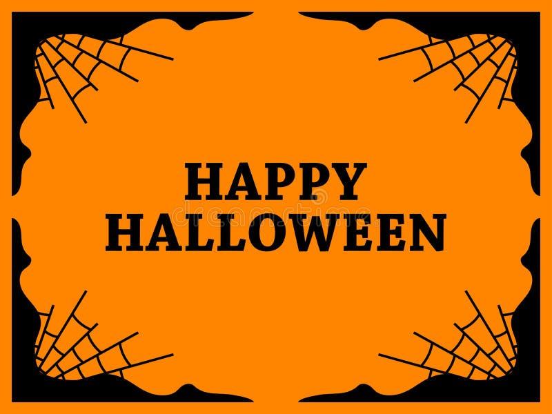 Halloween rama z pajęczynami kolor tła wakacje czerwonego żółty pomarańcze i czerń kolor wektor ilustracji