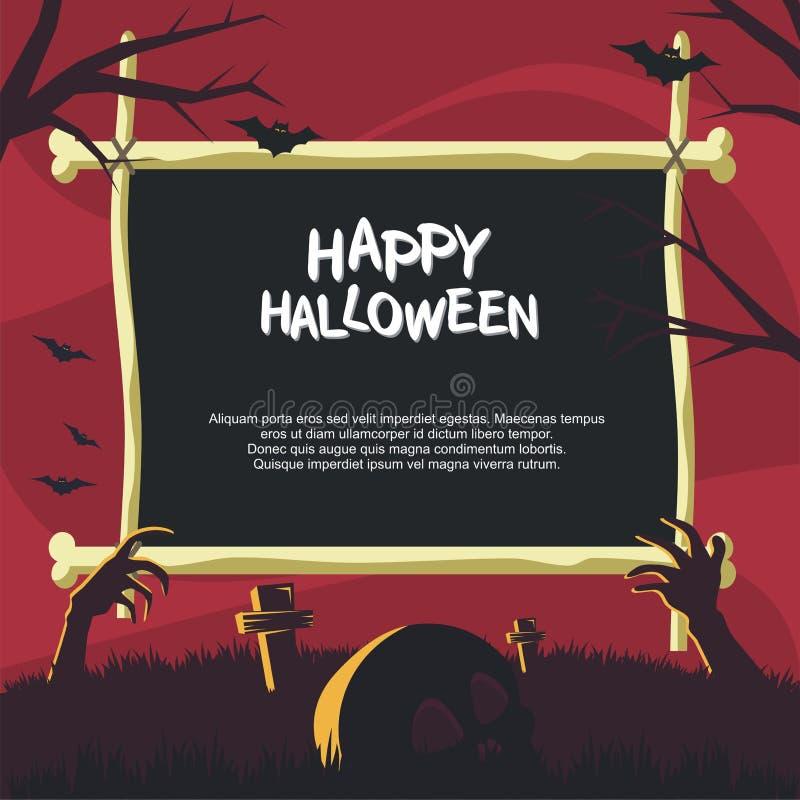 Halloween rama z przerażającym kreskówka stylem royalty ilustracja