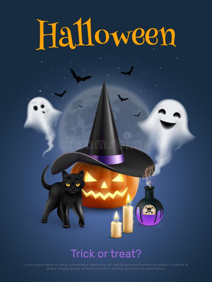Free Halloween Realistic Poster Royalty Free Stock Photo - 165306055