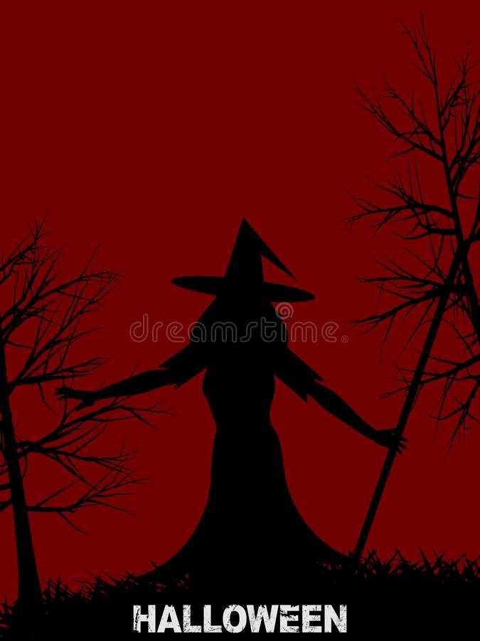 Halloween witch with hat on red background royalty free illustration