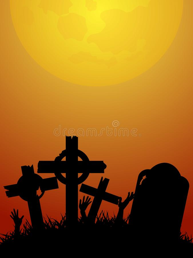 Halloween red and yellow background with zombie hands and graveyard vector illustration