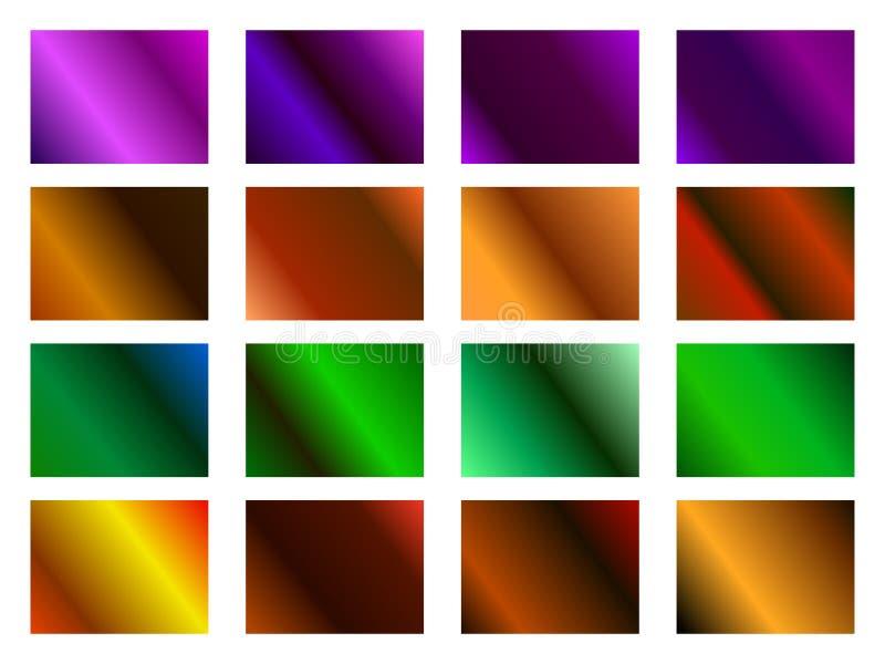 Halloween-reeks gradiëntachtergronden Oranje, purpere en groene tinten Vector vector illustratie