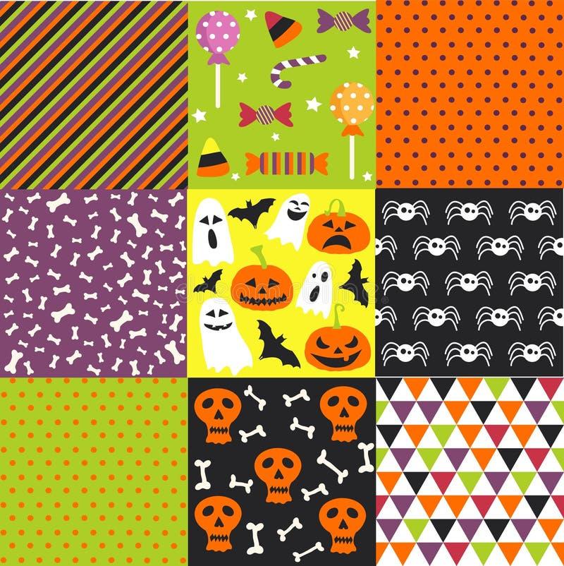 Halloween-reeks, patronen, malplaatjes stock illustratie
