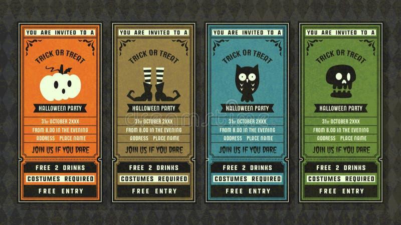 Halloween-retro de stijlinzameling van de uitnodigingsinzameling stock illustratie