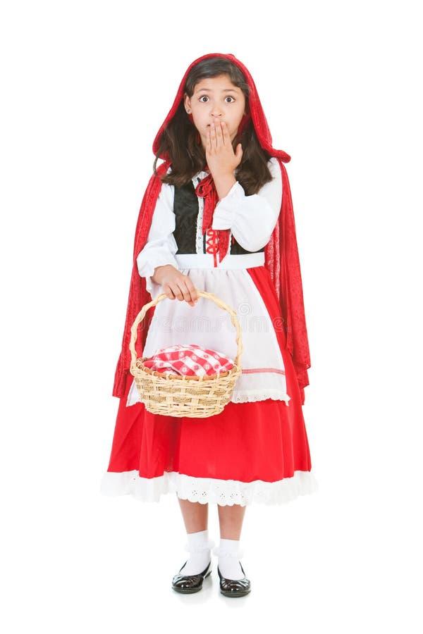 Halloween: Rood Berijdend Hood Surprised stock foto's