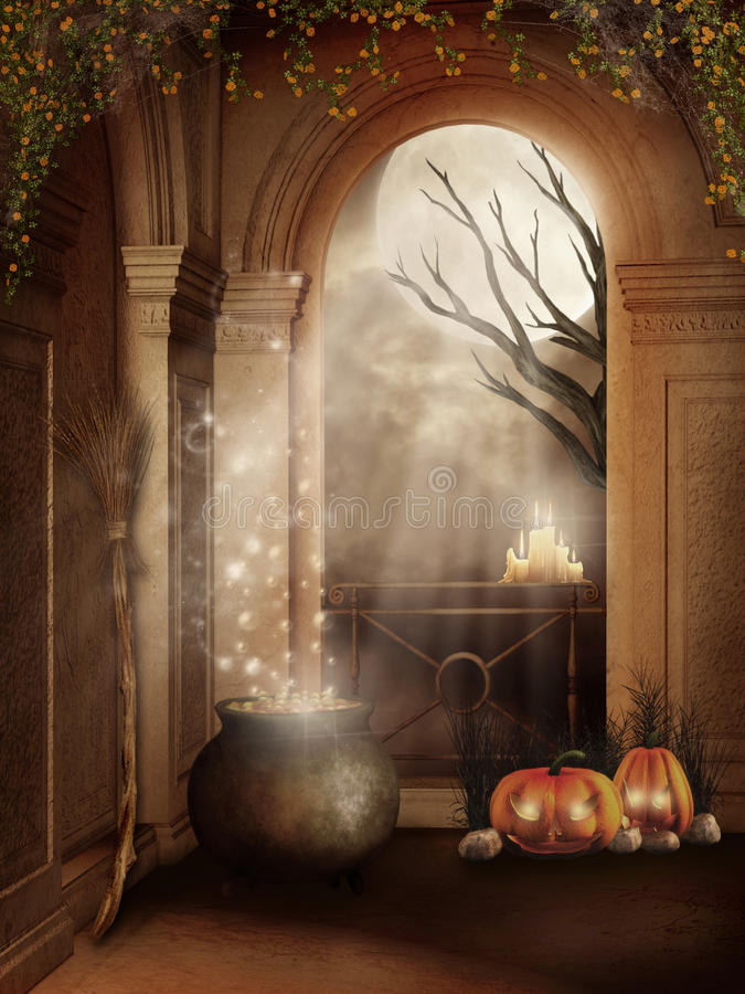 Halloween room with a cauldrom royalty free illustration