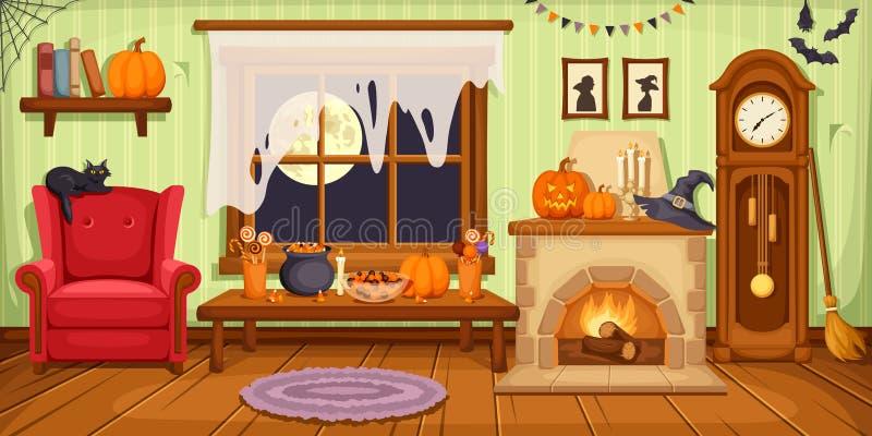 Halloween room interior. Vector illustration. stock photo