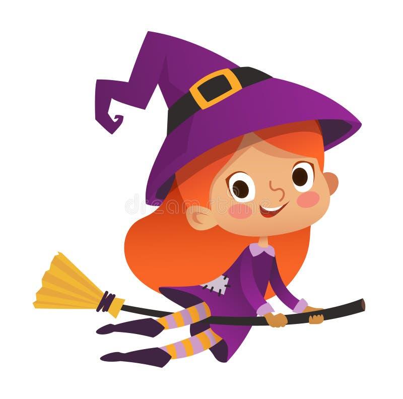 Halloween-Rothaarige, die kleine Hexe fliegt Mädchenkind in Halloween-Kostüm, das über den Mond fliegt Retro Weinlese Getrennt vektor abbildung