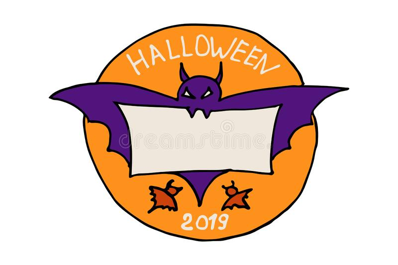 Halloween round orange sticker label with a spooky bat purple silhouette. The rodent holds in his teeth a piece of parchment paper vector illustration