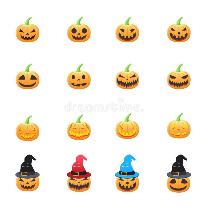Halloween rzeźbiąca pączuszku Set Halloweenowy Wektorowy Ilustracyjny kolor ikon mieszkania styl royalty ilustracja