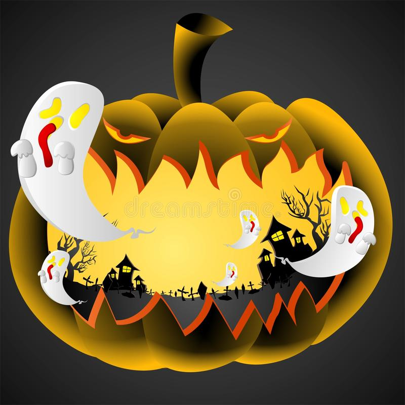 Halloween's day Pumpkin. Halloween Pumpkin and ghost,silluate black house and horror trees ,charactor design for halloween vector illustration