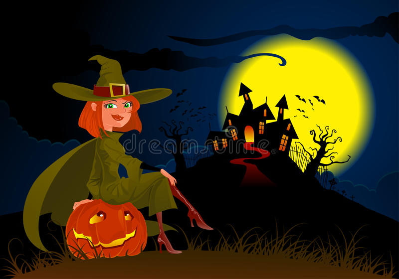 Halloween's witch and pumpkin vector illustration
