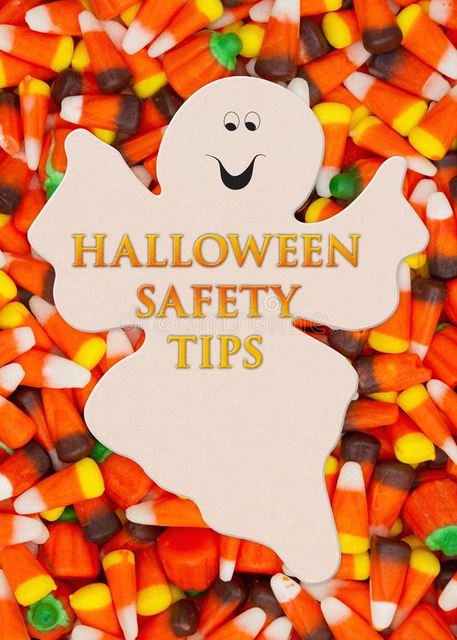 Halloween Safety Tips Message with candy corn royalty free stock photo