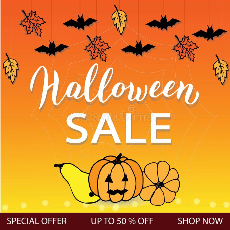Halloween sale advertising banner. Halloween special offer leaflet with pumpkin and bats. Trendy lettering template. Vector stock illustration
