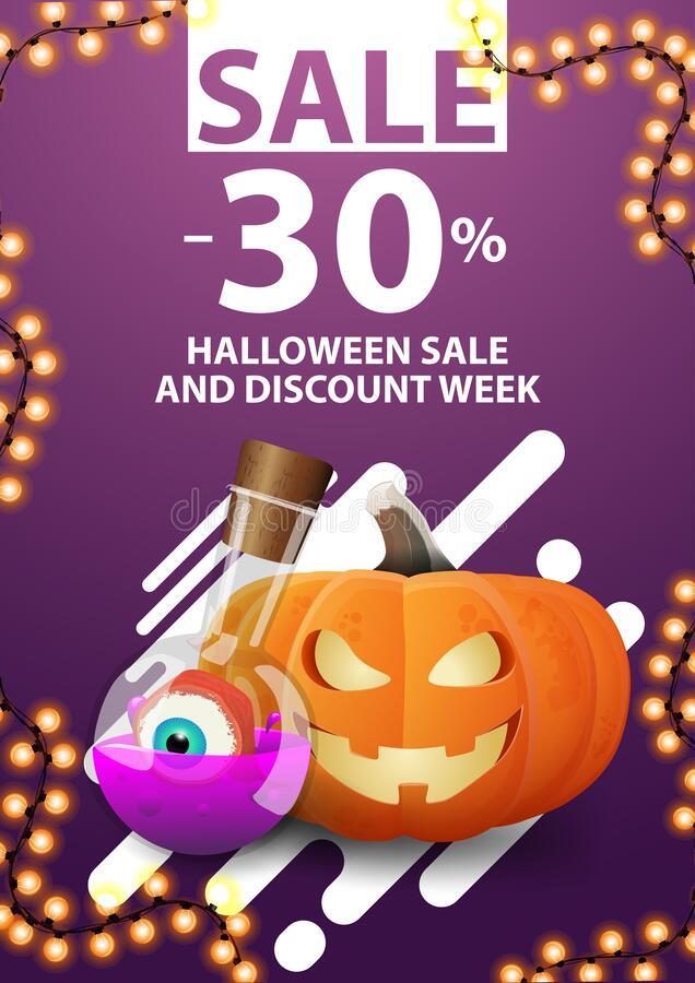 Free Halloween Sale And Discount Week, Up To 30 Off, Purple Vertical Web Banner With Pumpkin Jack And Witch`s Potion Stock Image - 192022421