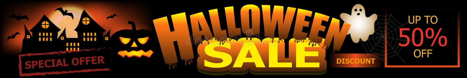 Halloween Sale banner. Background with pumpkin, castle and ghost. Vector stock illustration