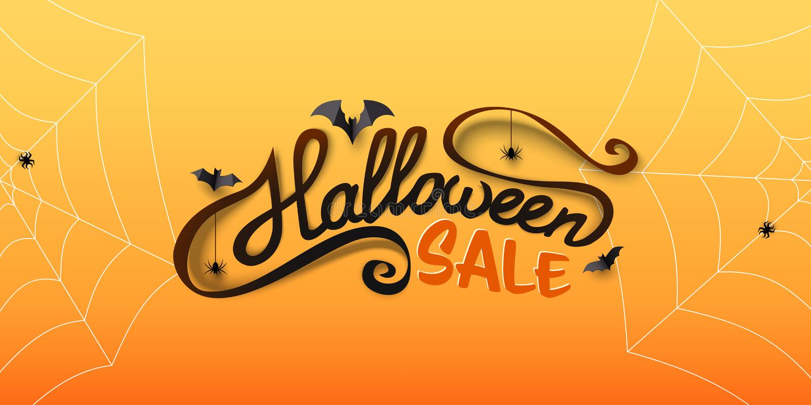 Halloween Sale banner with calligraphy text, paper bats, spiders, spiderwebs. Hand drawn lettering. stock illustration