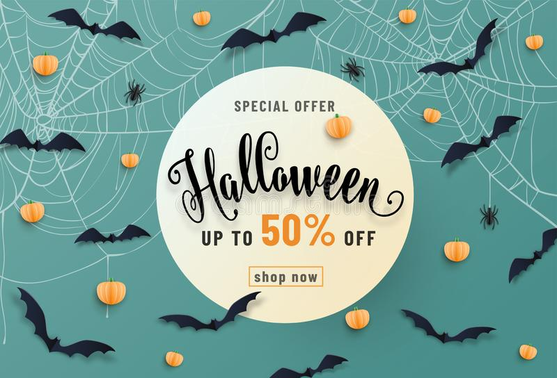 Halloween sale banner, party invitation concept background. Holiday design with bats, spider, cobweb, pumpkin, lettering stock illustration