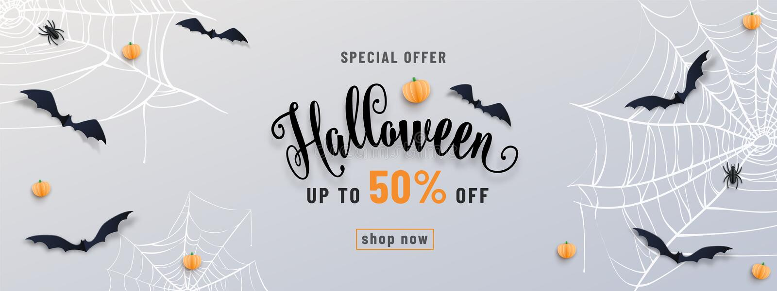 Halloween sale banner, party invitation concept background. Holiday design with bats, spider, cobweb, pumpkin, lettering vector illustration