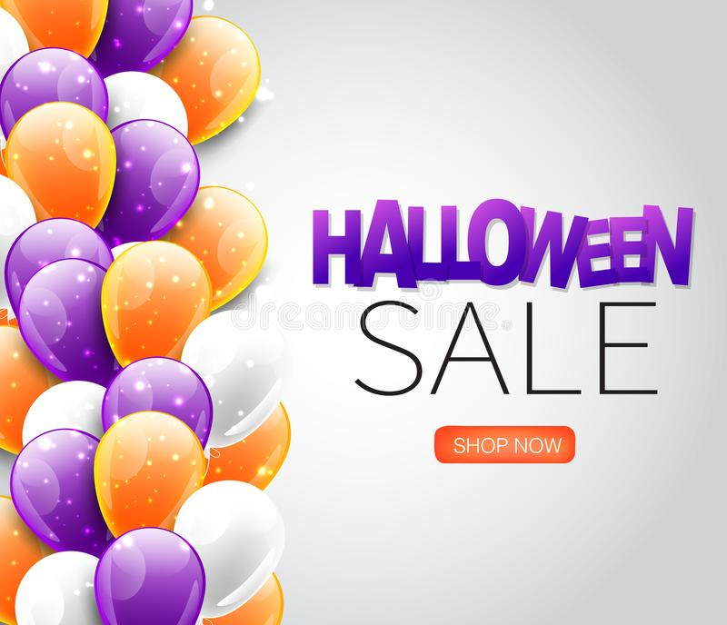 Halloween sale banner with purple, orange, and white flying balloons. vector illustration