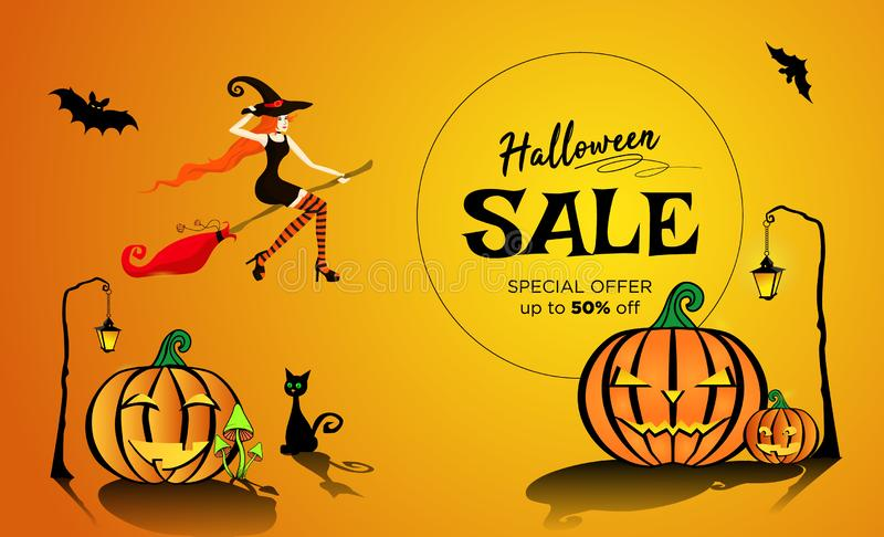 Halloween sale with a beautiful red-haired witch flying on a broomstick. Illustration EPS 10 vector illustration