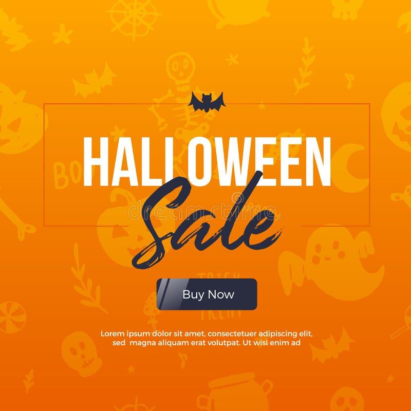 Halloween sale on grunge pattern. Autumn modern offer. Special poster vector illustration
