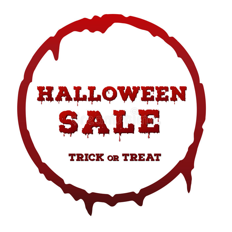 Halloween sale inscription on white background. Template of poster with red color dripping circle frame and bloody font. vector illustration