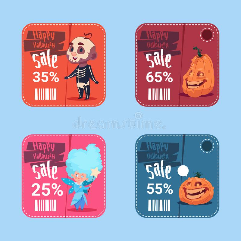 Halloween Sale Posters Set Holiday Seasonal Discount Icons Collection Concept. Flat Vector Illustration vector illustration