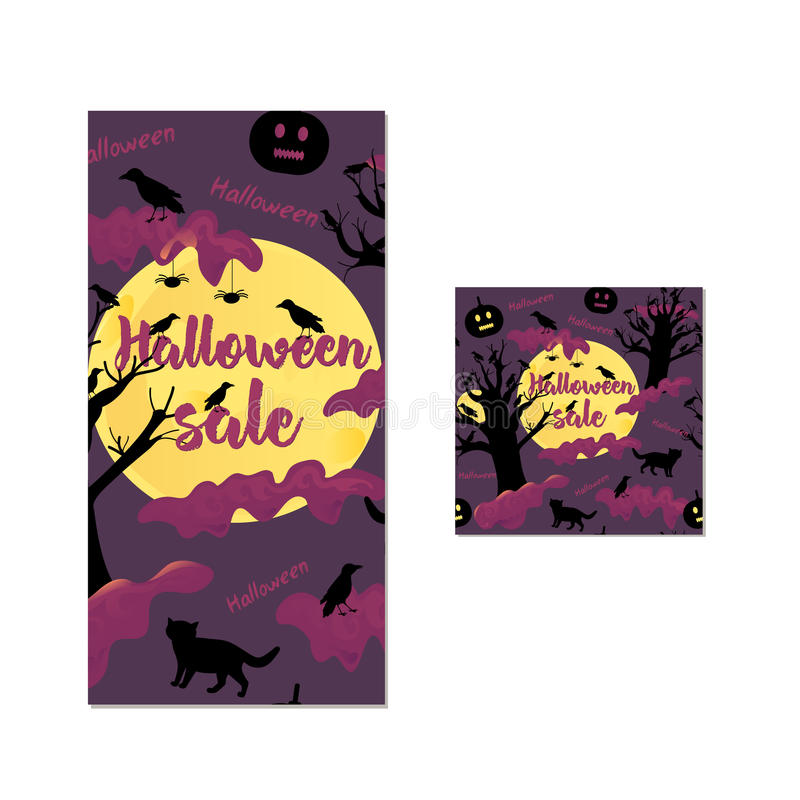 Halloween sale seamless pattern and template of the banner. Horror background vector illustration