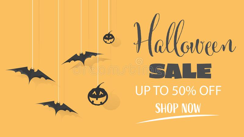 Halloween Sale special offer banner for holiday shopping, Promotion template design. Vector illustration stock illustration