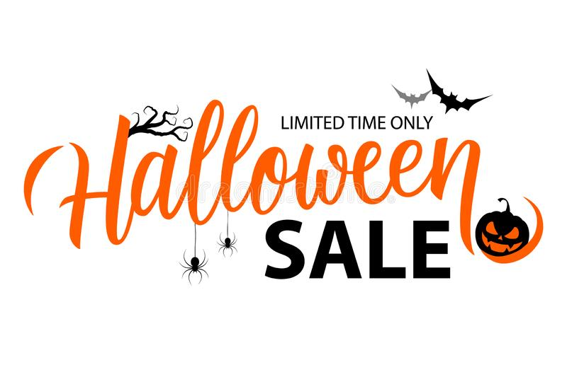 Halloween Sale special offer banner template with hand drawn lettering for holiday shopping. Limited time only. royalty free illustration
