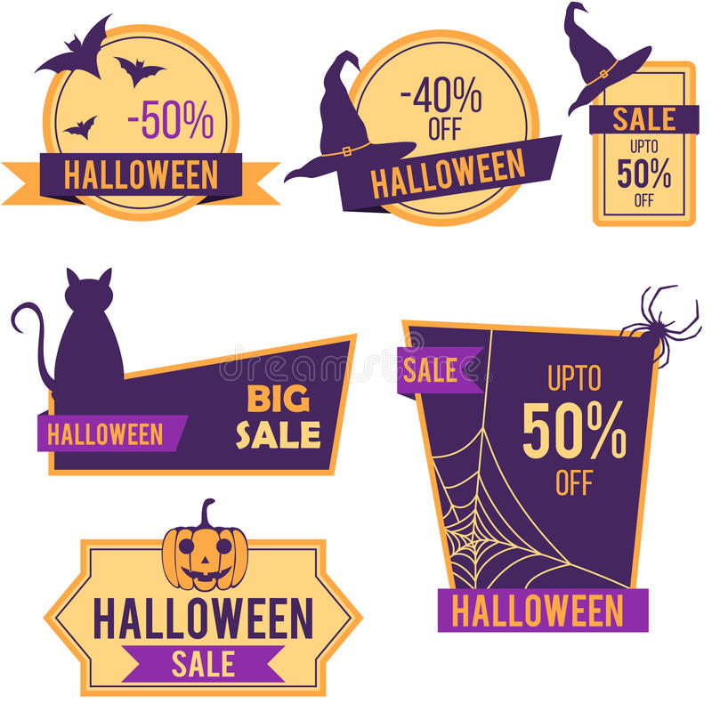 Halloween sale stickers and labels. Design vector illustration