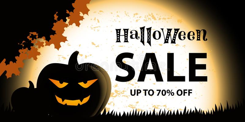 Halloween SALE up to 70 percent off in black on background with orange textured giant moon, pumpkins vector illustration