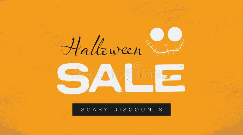 Halloween sale vector banner website header template on orange background with stitched smile monster. Special offers vector illustration