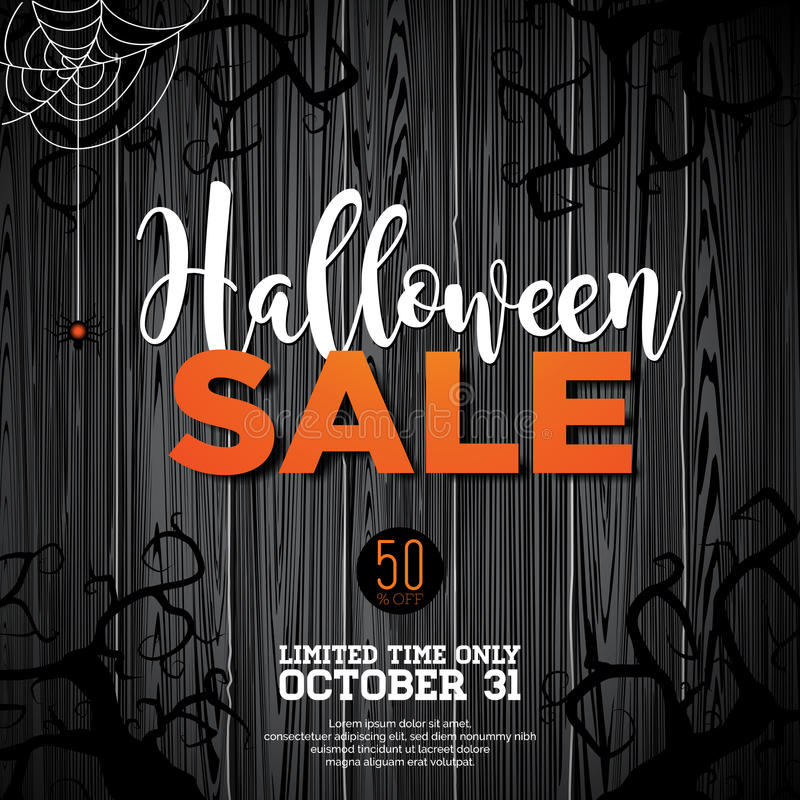 Halloween Sale vector illustration with spider and Holiday elements on wood texture background. Design for offer, coupon, banner, royalty free illustration