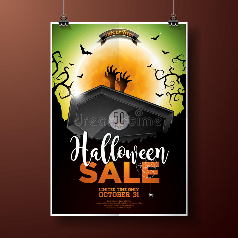 Free Halloween Sale Vector Illustration With Coffin, Zombie Hand, Bats, Monn And Holiday Elements On Green Background Stock Photo - 98998970