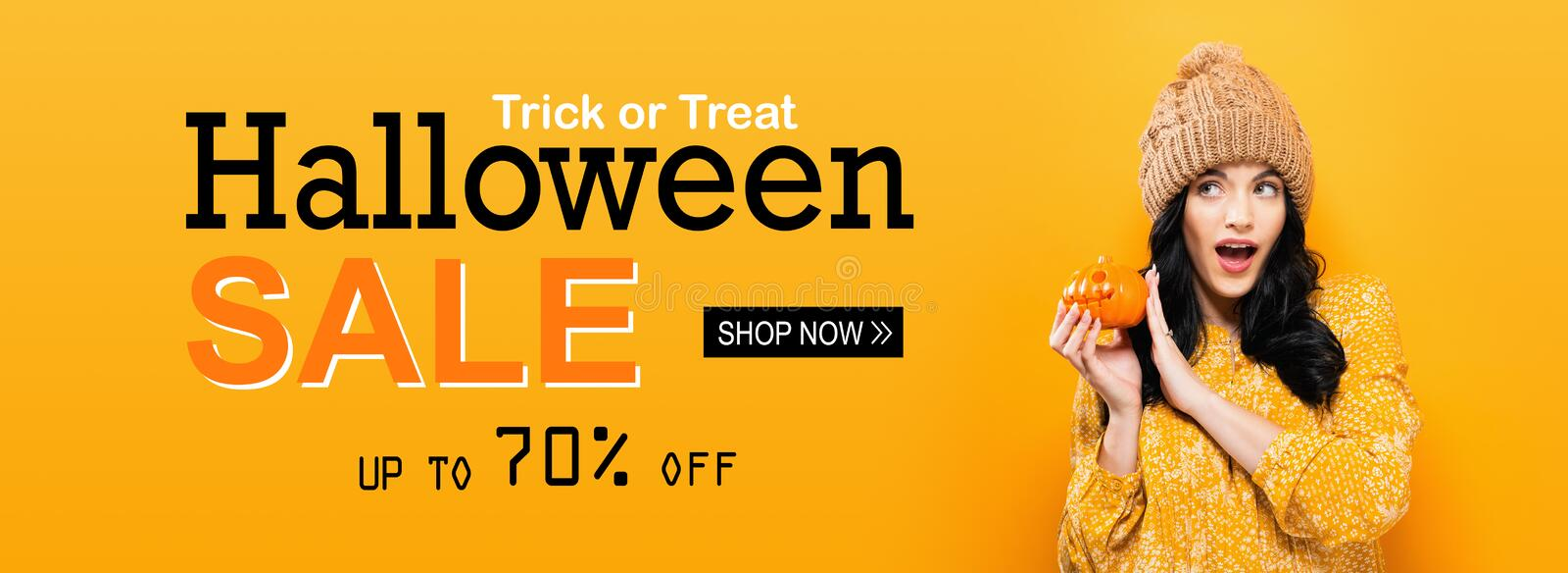 Halloween sale with woman holding a pumpkin. Halloween sale with young woman holding a pumpkin stock images