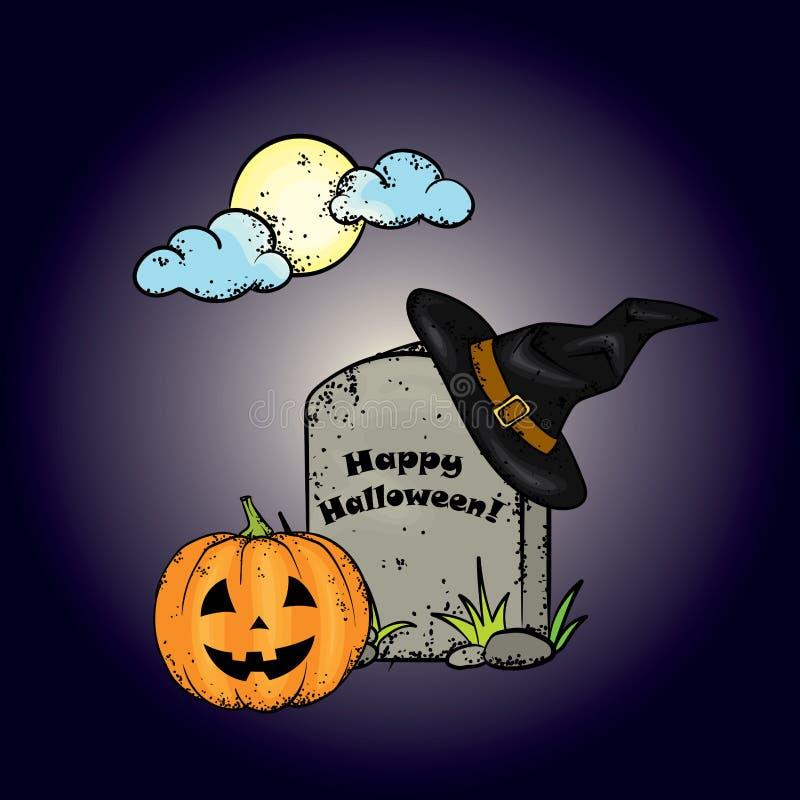 Halloween-samenstelling van de maan in de wolken, de graven, de pompoenen en heksenhoeden Vectorillustratie voor een prentbriefka vector illustratie