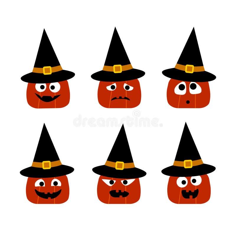 Halloween-Sammlung von 6 netten Kürbisen in den Hexenhüten mit verschiedenen Gesichtern Flache Ikonen des Vektors lizenzfreie abbildung