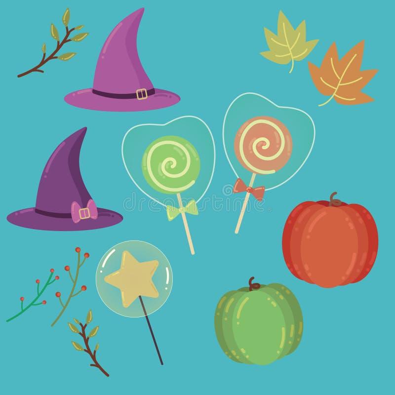 Halloween-Satz Gegenstände stock abbildung