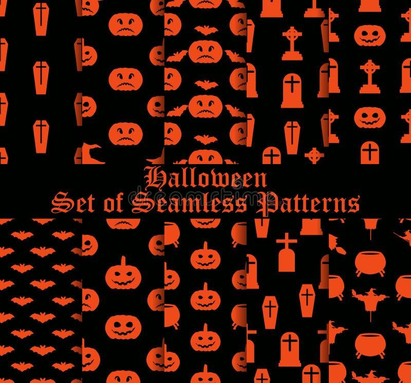 Halloween-Satz nahtlose Muster mit Kürbisen, Hexen und feierlichen Symbolen Vektor vektor abbildung