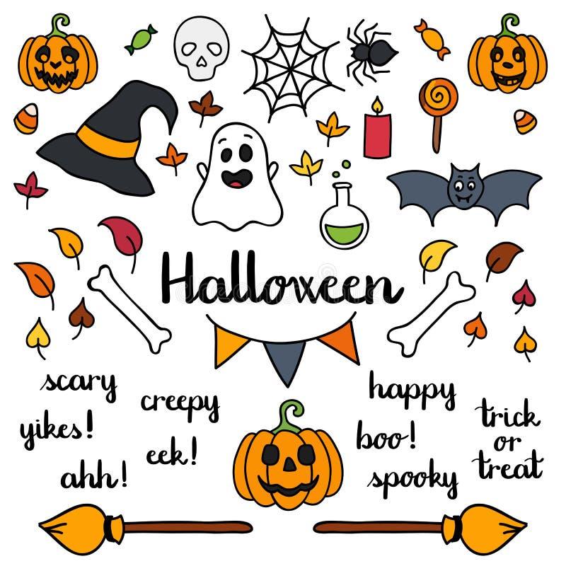 Halloween-Satz Sachen und Wörter lokalisierte Gekritzel stock abbildung
