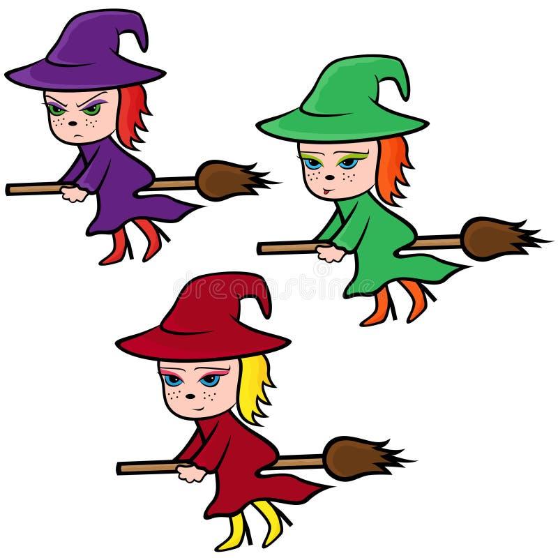 Halloween-Satz von drei bunten Hexen stock abbildung