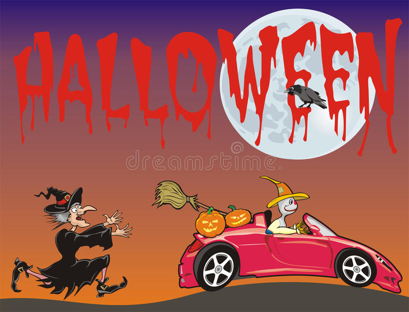 Halloween - scarecrow running from a witch. Full moon, fear has big eyes, trick or treating royalty free illustration