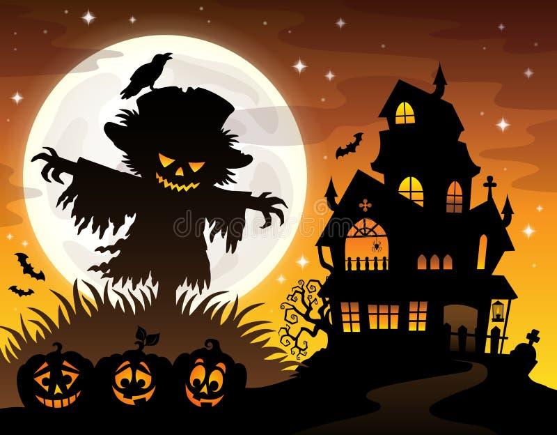 Halloween scarecrow silhouette theme 2 stock illustration