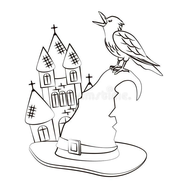 halloween scary cartoons halloween haunted house witch hat crow scary cartoons sketch vector illustration graphic design