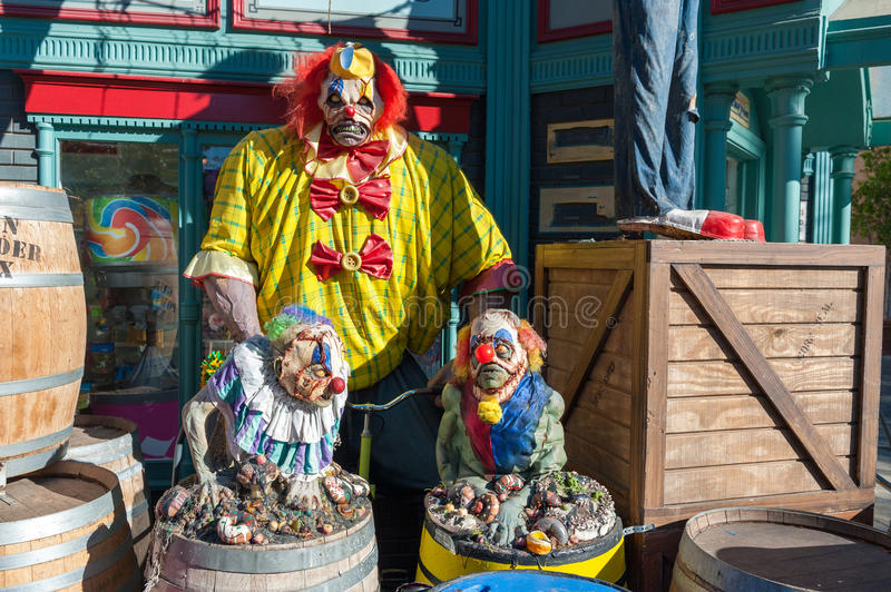 Halloween scary clowns. Fun halloween composition with scary clowns stock photography
