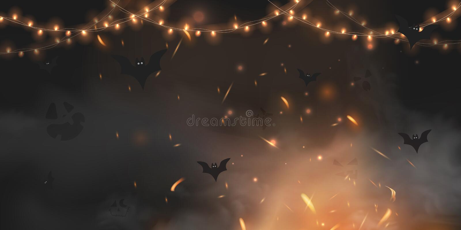 Halloween scary  dark background with magic black lights evil eyes, lights, Fire sparkle bokeh and bats silhouettes in. Mystic fog. Halloween poster background vector illustration