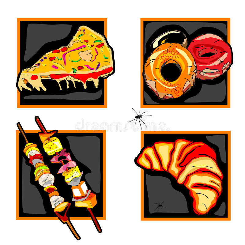 Halloween Scary Fast Food Icons Royalty Free Stock Photography